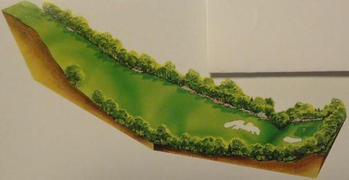 オーガスタナショナルのUp and Downを示した10番のレイアウト図。ティからグリーン手前のハローの低地まで、なんと32メールの高低差にある。それは川奈富士コースの海に向かっての打ち下ろしの1番ホールとほぼ同じ高低差である。