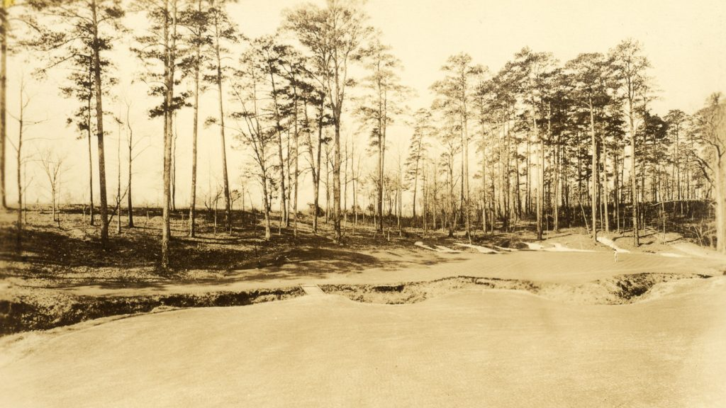 This image shows the current No. 13 hole witch played as the No. 4 in 1934.
