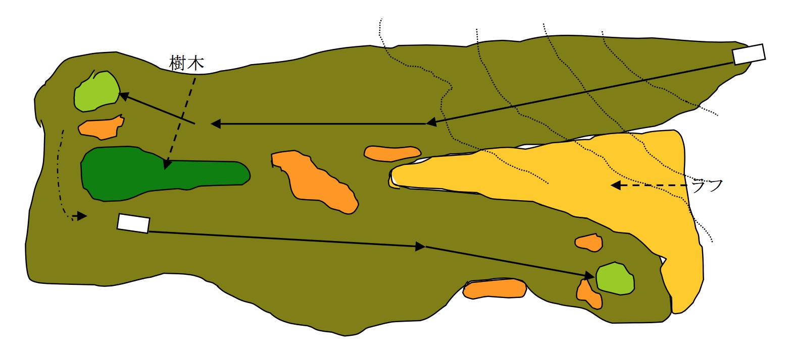 図 コネックテッドフェアウェイの一例  上のホールが3ショットのPAR5, 下のホールが2ショットのPAR4