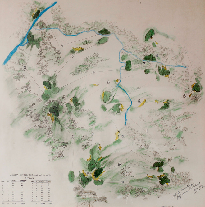Augusta National開設当時の図。アウト、インが逆だった事はあまりにも有名。