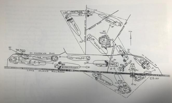 *マクドナルドによる改造以前のシネコックヒルズのレイアウト図