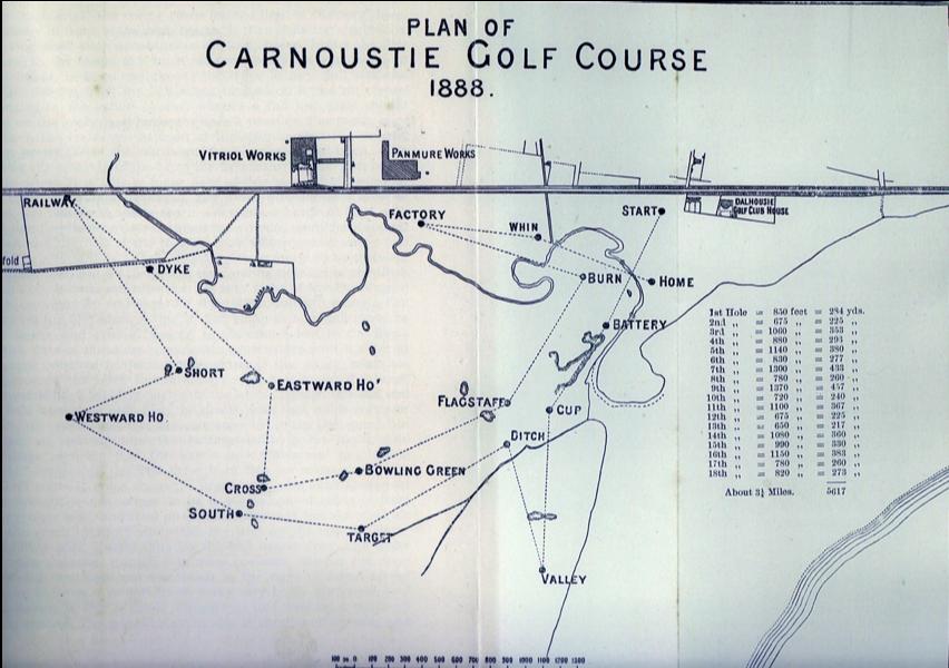 1888年のレイアウト図、当時は5617ヤードのコースだった。