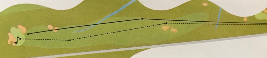 黒線がホーガンが最終日に果敢に攻めた2ショットの攻略ルート、点線が通常の攻略ルート。