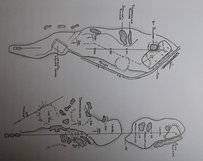 図 St.Andrews Old Course 17番 Road Hole(上), National Golf Links of America 7番 Road Hole(下)